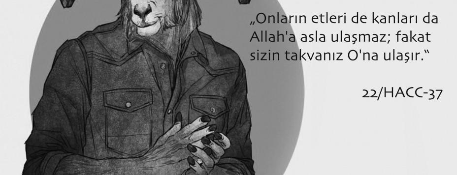 Koranvers 22:37 mit einem Steinbock in Menschengestalt