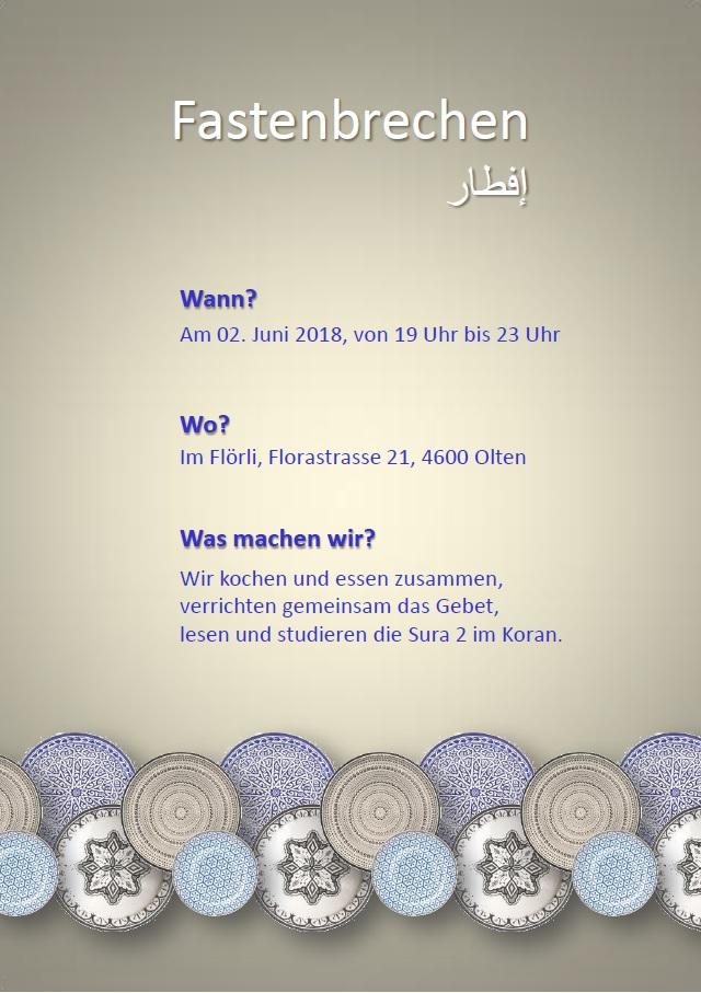 Flyer zum Iftar-Treffen