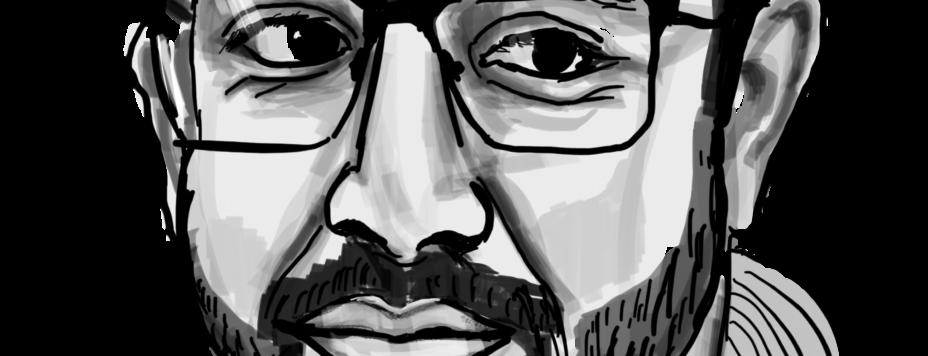 Schwarz weisses Portraitbild von Kerem Adigüzel, digital gezeichnet von Tarigh Nejat